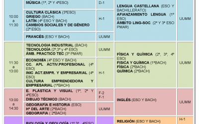 Calendario exámenes de septiembre curso 2018/19